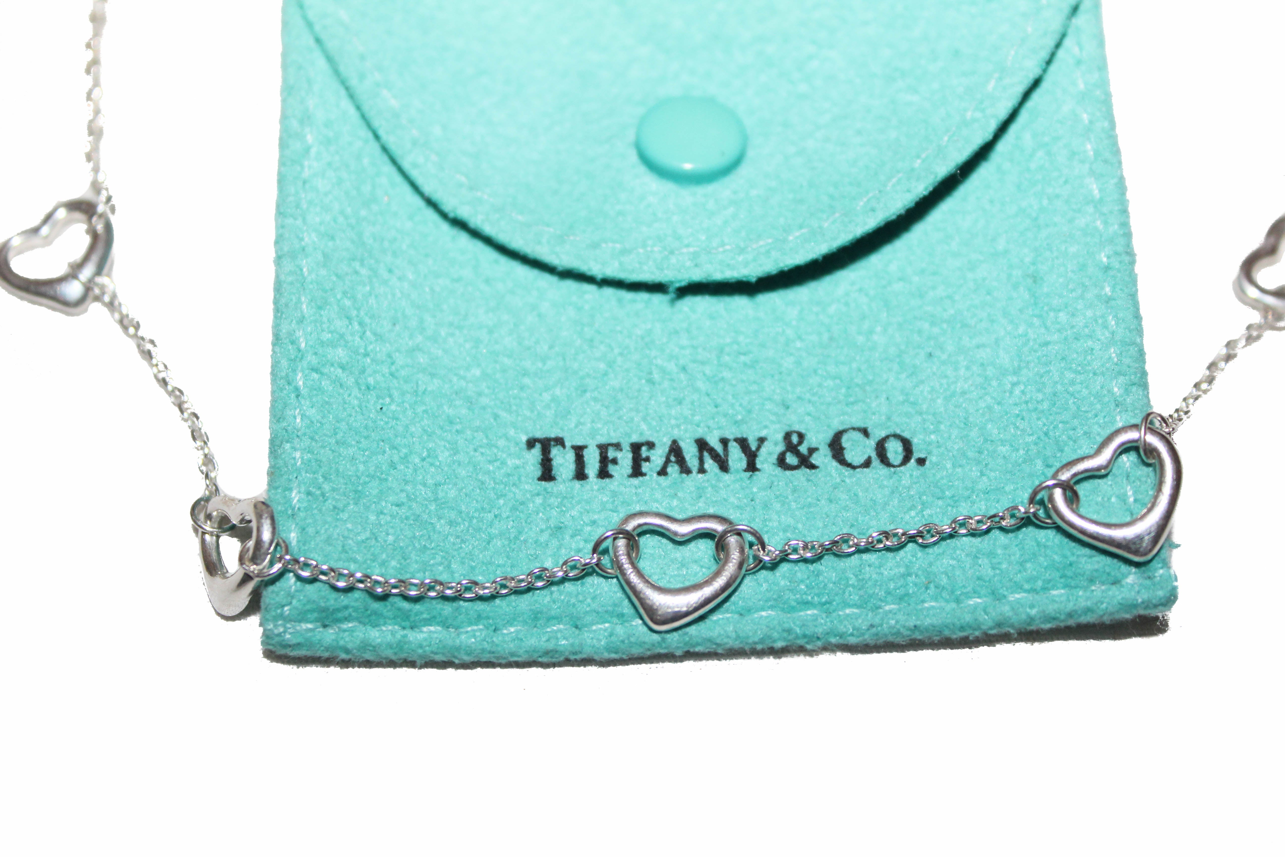 Authentic Tiffany & Co. Sterling Silver Five Open Hearts Station Necklace