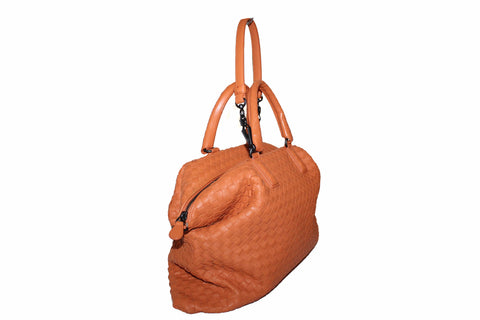 Authentic Bottega Veneta Orange Intrecciato Woven Nappa Leather Shoulder Bag