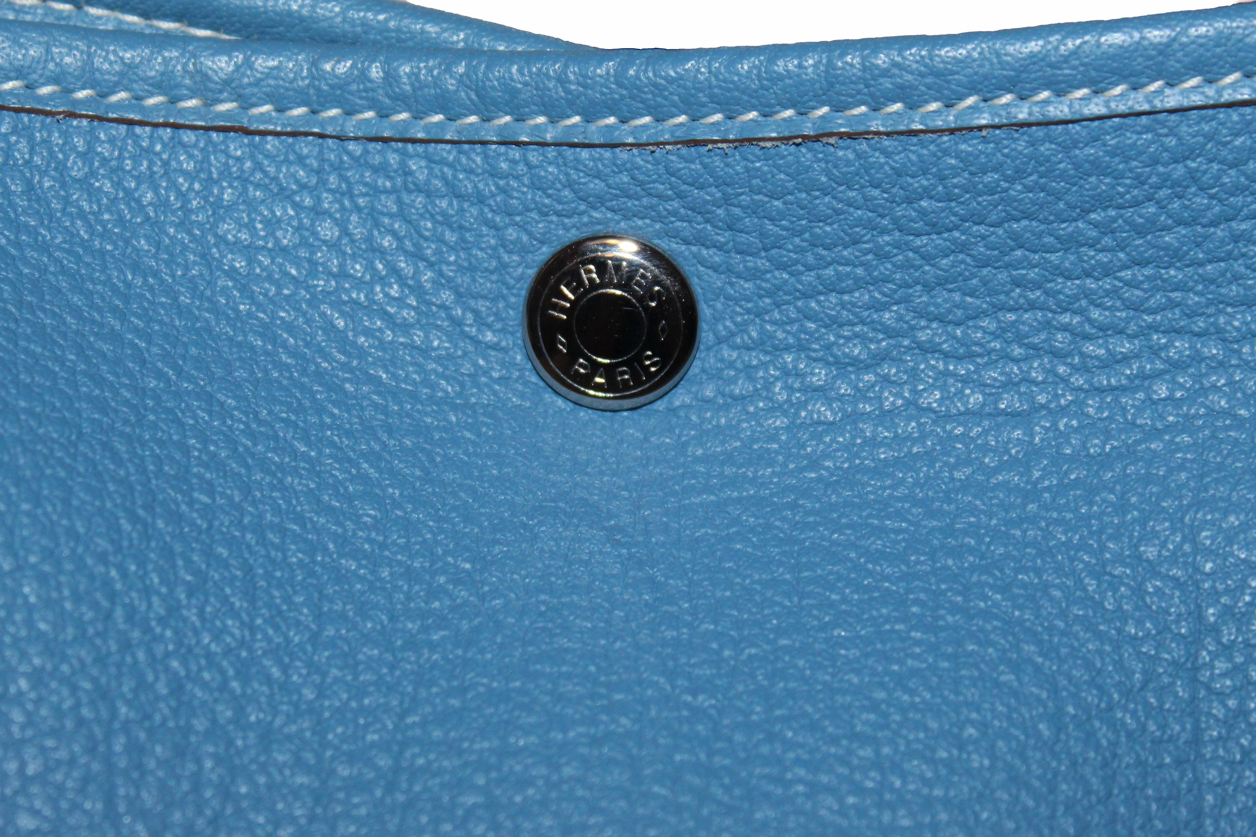 Authentic Hermes Blue Jean Clemence Leather Garden Party 36 MM Shoulder Tote Bag