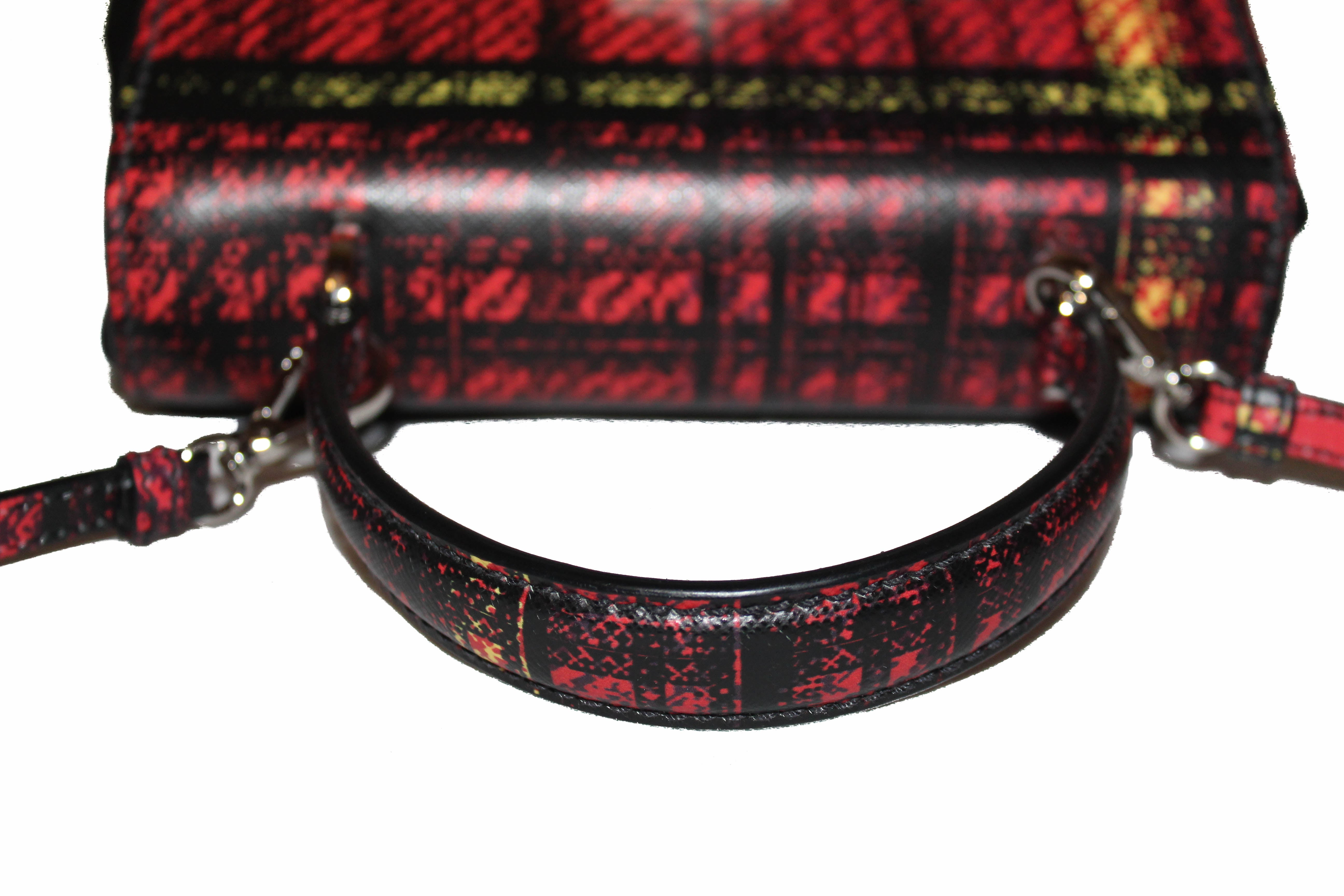 Authentic New Prada Red Plaid Tartan Saffiano Leather and Nylon Top Handle Messenger Bag with Long Strap