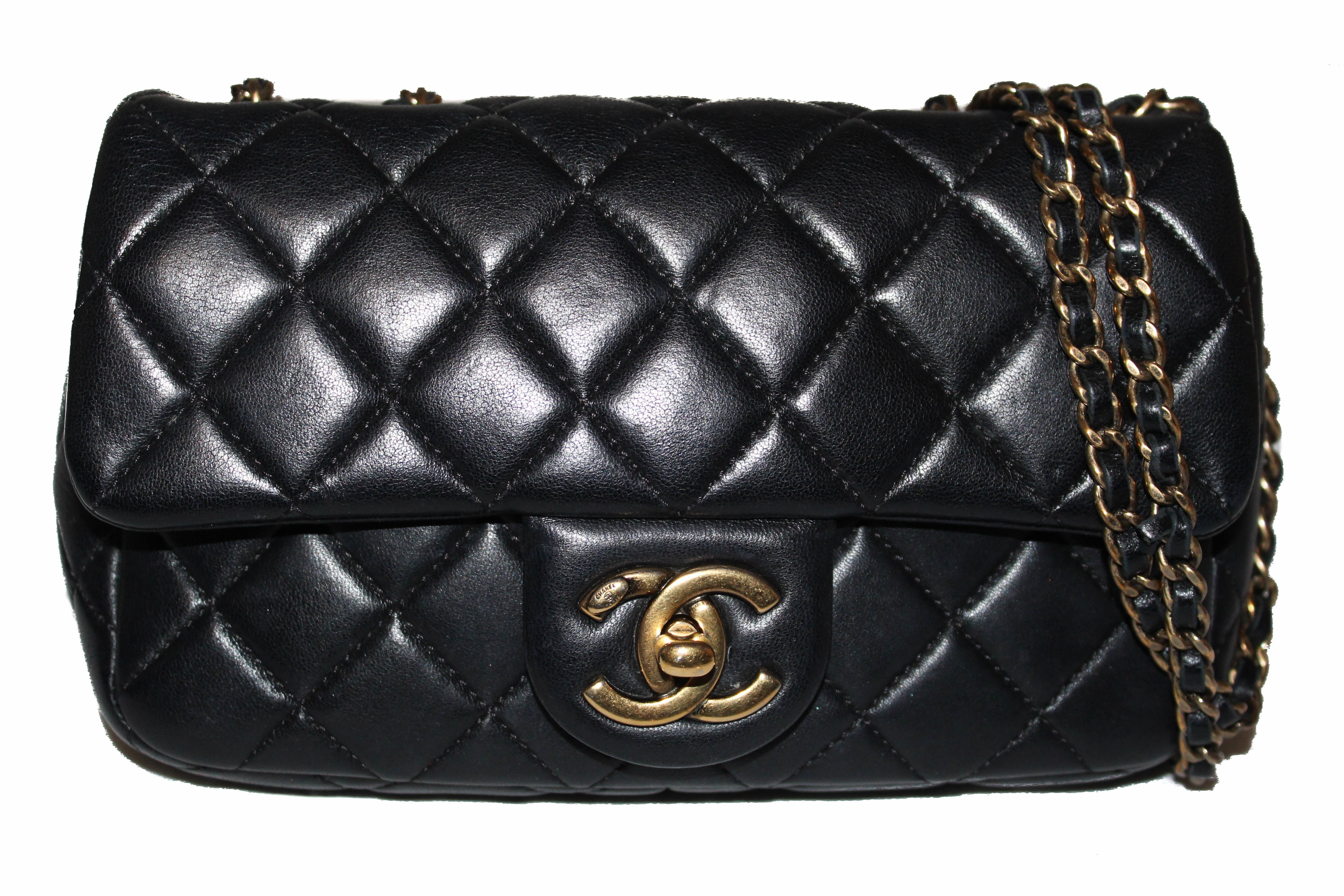 Authentic Chanel Black Lambskin Leather Mini Rectangular Quilted Classic Chain Bag