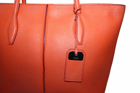 Authentic Tod's Orange Pebbled Leather Joy Shopping Tote Shoulder Bag