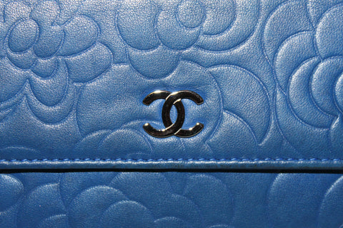 Authentic Chanel Blue Lambskin Leather Camellia Flap Wallet