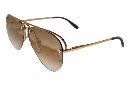 Authentic New Louis Vuitton Grease Gold Frame Sunglasses Z1366E