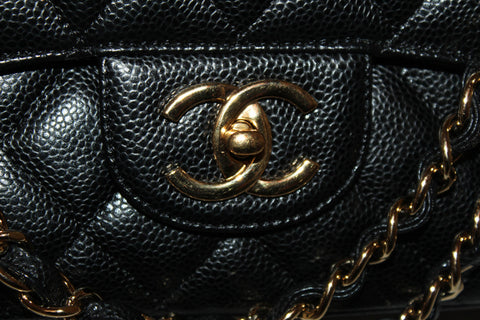 Authentic Chanel Black Quilted Caviar Leather Maxi Double Flap Bag