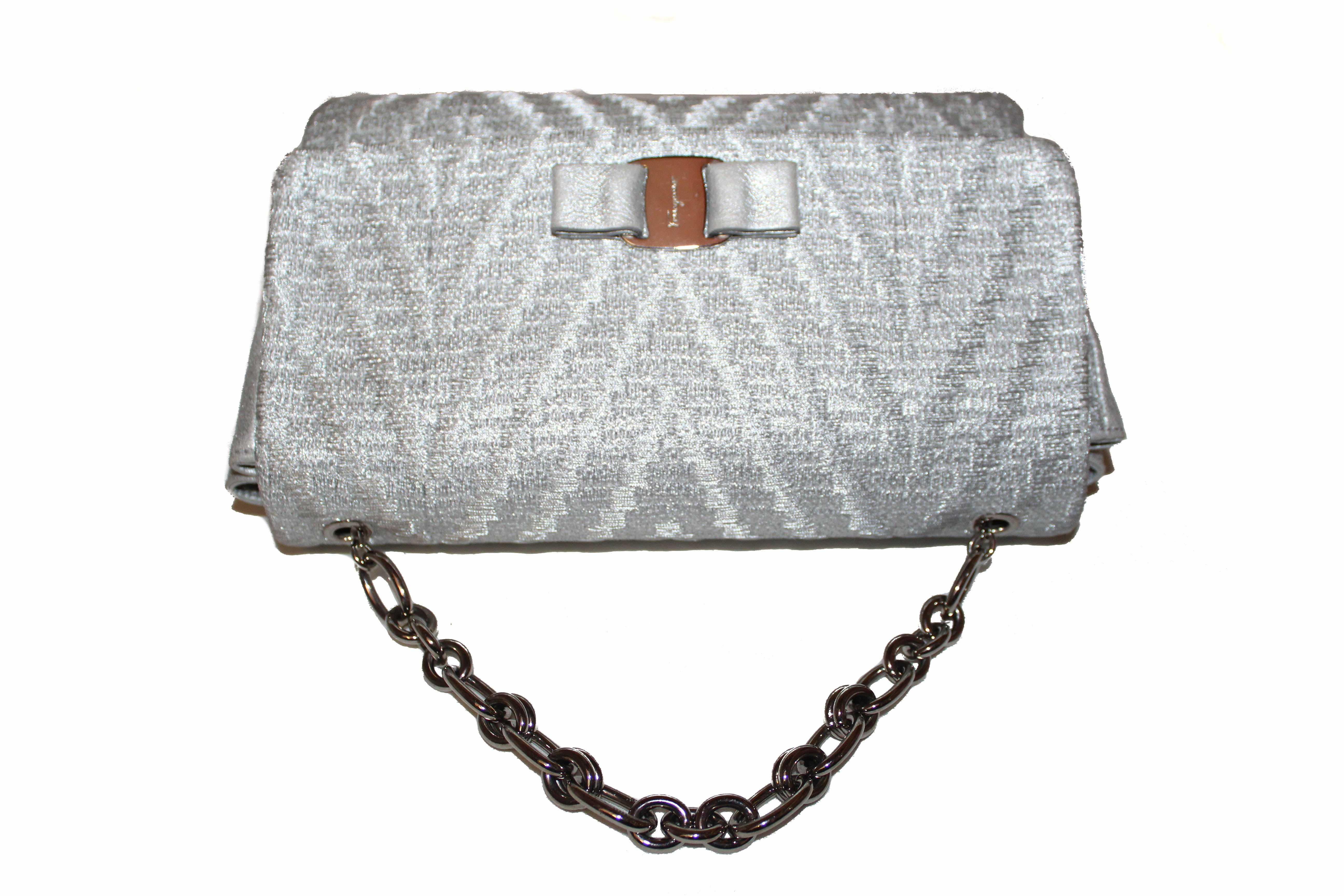 Authentic Salvatore Ferragamo Metallic Silver Tweed & Leather Clutch with Silver Chain Bag AU-21/G193