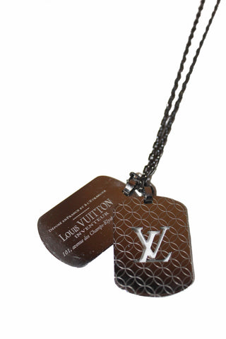 Authentic Louis Vuitton Monogram Tag Plate Necklace