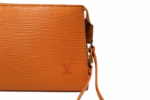 Authentic Louis Vuitton Orange Epi Leather Pochette Bag