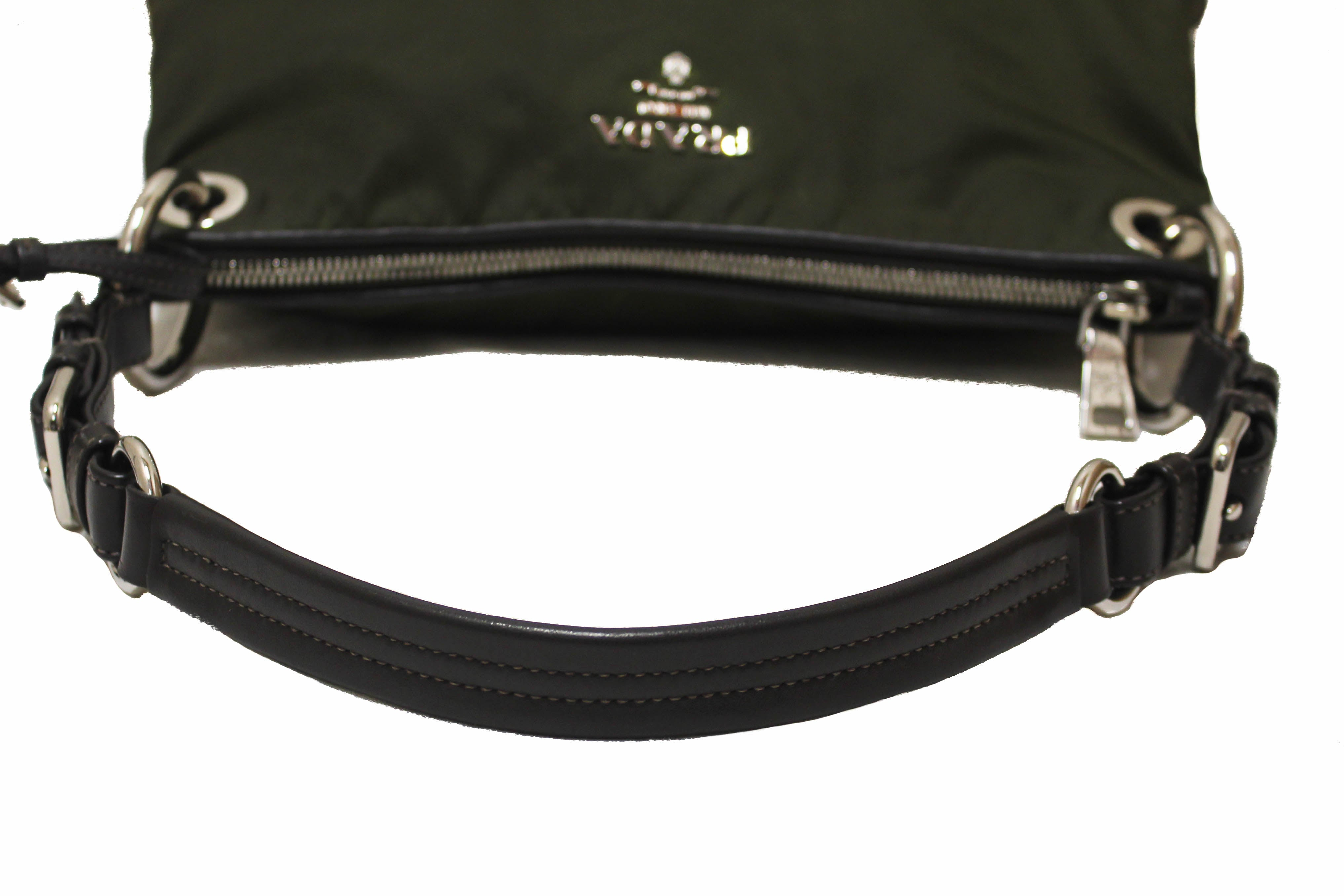 Authentic Prada Green Tessuto Soft Calf Leather and Nylon Shoulder Bag