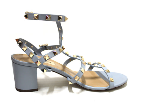 Authentic Valentino Sky Blue Leather Rockstud Ankle Strap Sandals Shoes 60mm Size 39