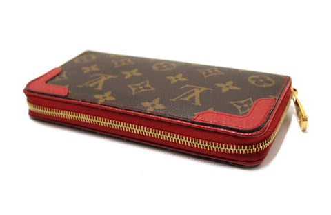 Authentic Louis Vuitton Cerise Monogram Retiro Zippy Long Wallet