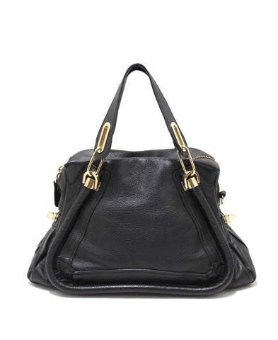 Authentic Chloe Paraty Black Calfskin Leather Medium Shoulder Bag