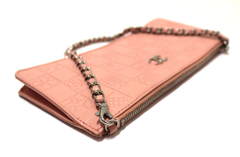 Authentic Chanel Pink Lambskin Leather Lucky Precious Symbols Pochette Wristlet Clutch Bag