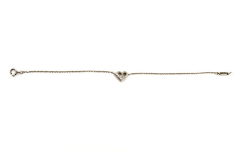 Authentic Tiffany & Co. Platinum Diamond Open Heart Bracelet