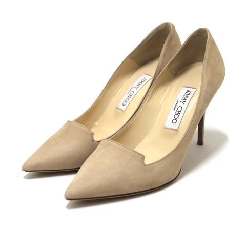 Authentic Jimmy Choo Beige Pointed Toe Suede Heels Size 37.5