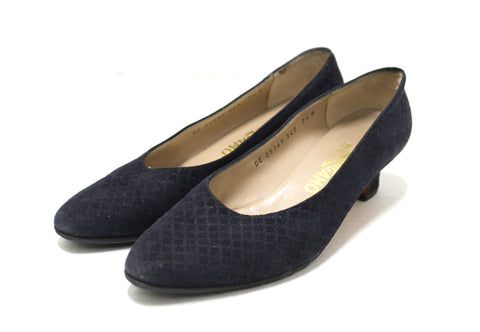 Authentic Salvatore Ferragamo Cross Stitch Navy Suede Spool Kitten Heel Size 7.5