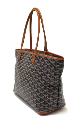 Authentic Goyard Black and Brown Chevron Print Artois PM Tote Shoulder Bag