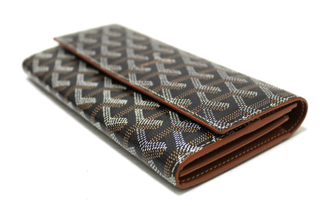 Authentic Goyard Black Goyardine Canvas Varenne Long Wallet