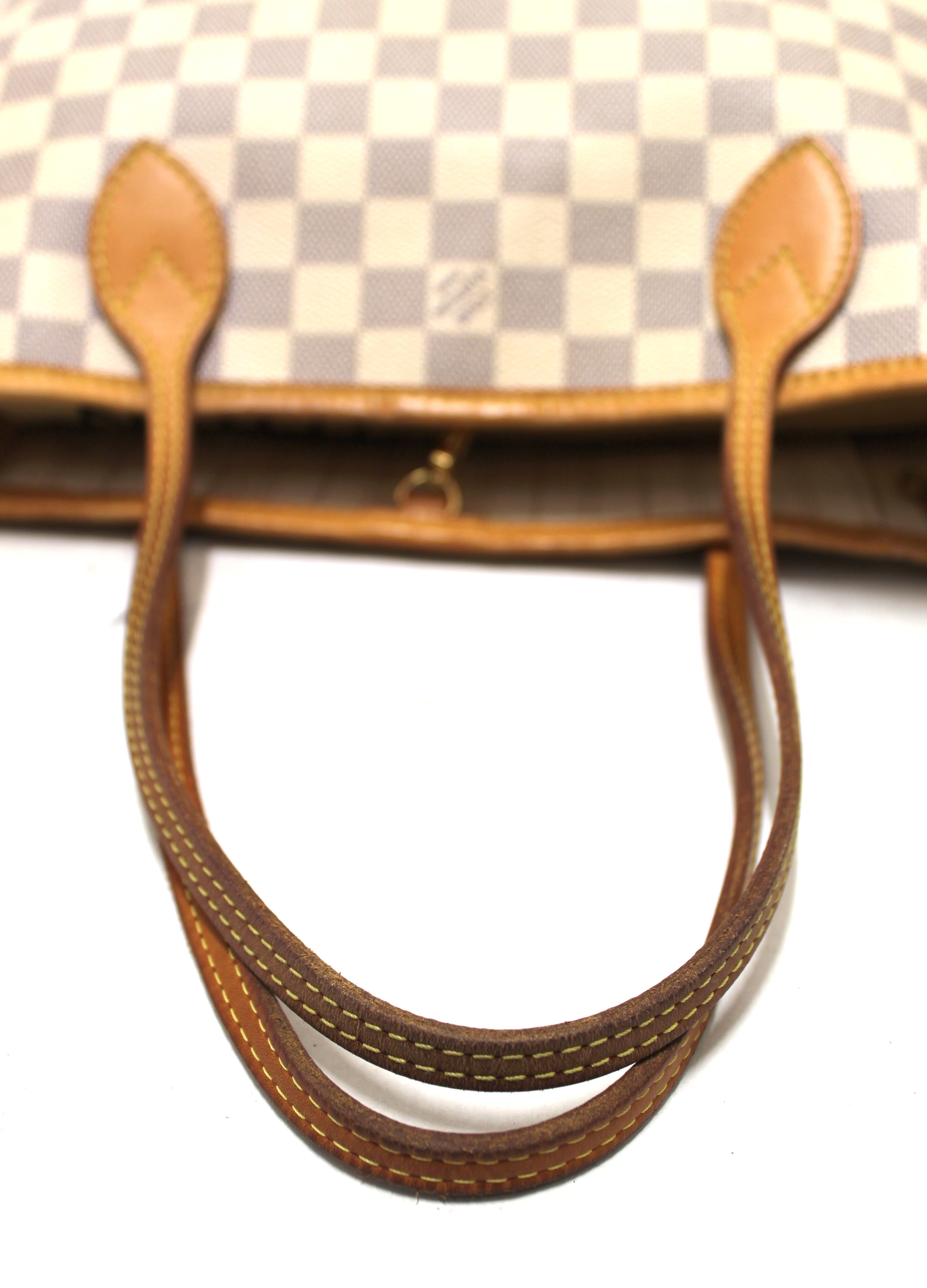 Authentic Louis Vuitton Damier Azur Canvas Neverfull PM Shoulder Tote Bag