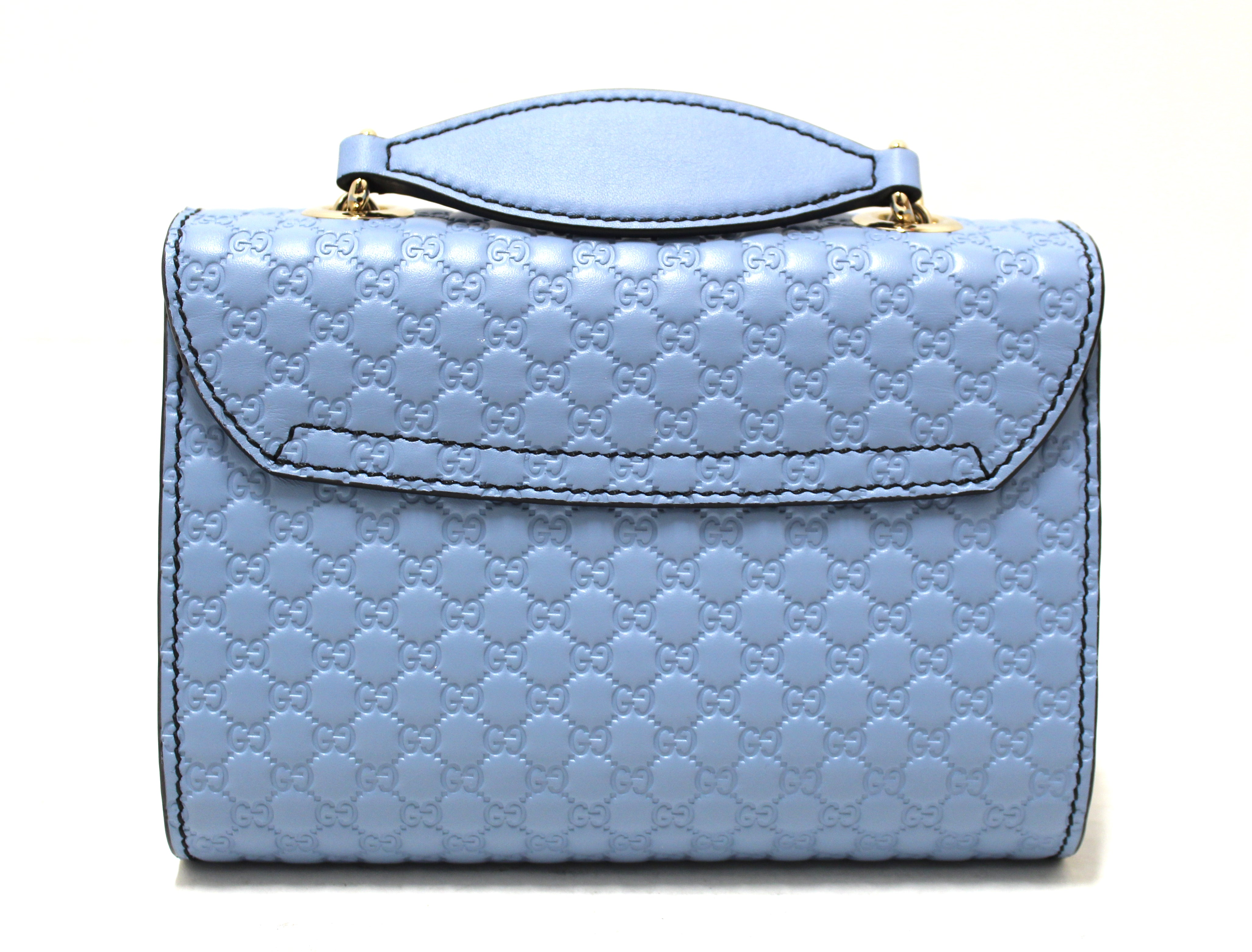 Authentic New Gucci Baby Blue Micro Guccissima Leather Mini Emily Messenger Bag 449636