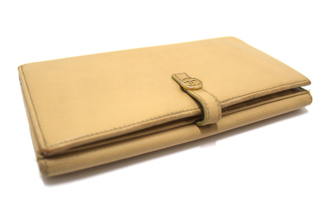 Authentic Chanel Camel Beige Leather Classic Long Wallet
