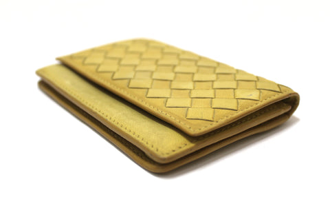 Authentic Bottega Veneta Yellow Nappa Leather Intrecciato Woven Card Case Wallet
