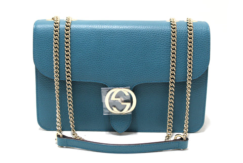 Authentic New Gucci Teal Blue Pebbled Leather Interlocking Chain Shoulder Messenger Bag 510303