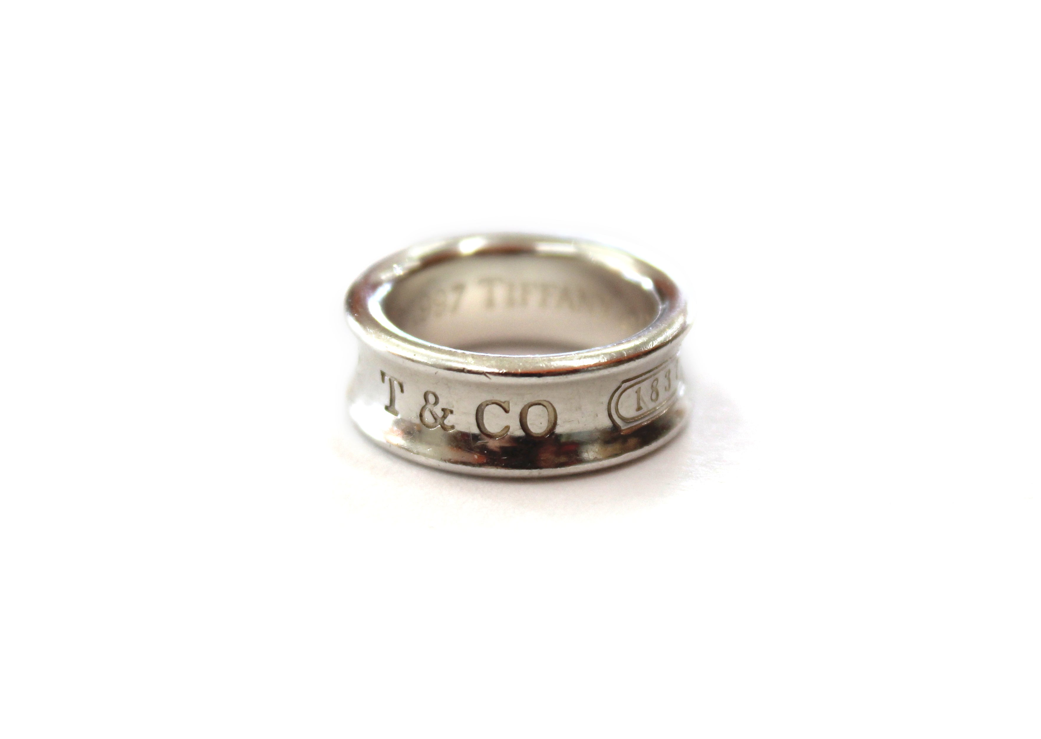 Authentic Tiffany & Co. Sterling Silver 1837 Medium Ring Size 3.5