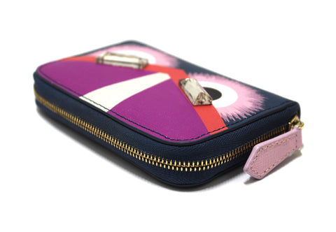 Authentic Rare Fendi Blue/Purple/Pink Leather Monster Eyes Swarovski Crystal Small Zippy Wallet