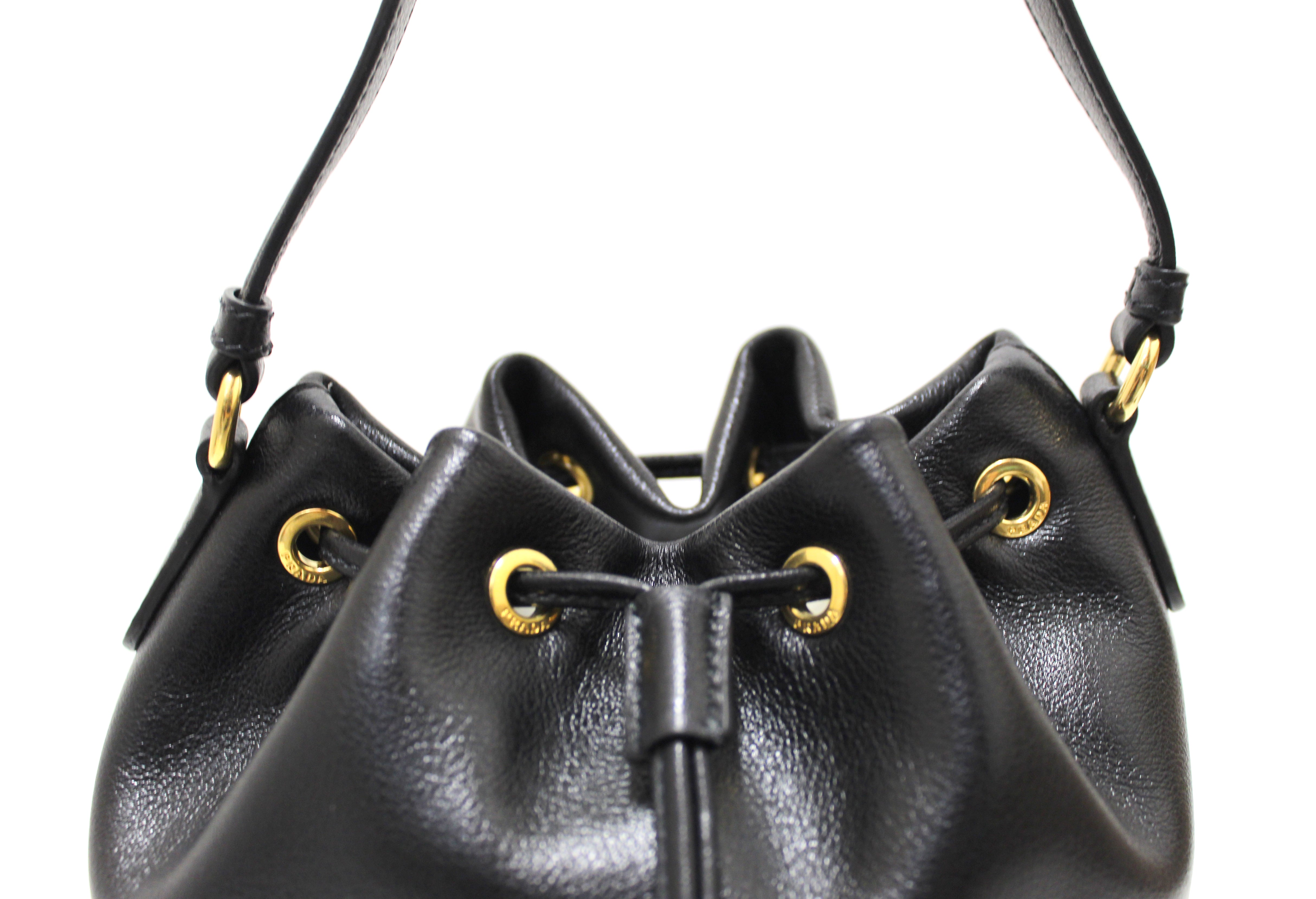 Authentic New Prada Black Calf Leather Duet Drawstring Bucket Messenger Bag 1BH038