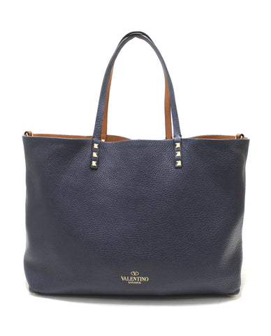 Authentic Valentino Brown/Blue Leather Rockstuds Reversible Tote Shoulder Bag