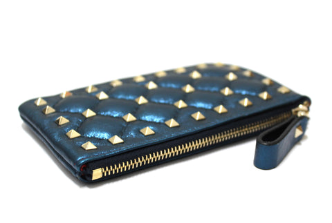 Authentic New Valentino Metallic Blue Craquele Lambskin Rockstud Spike Key Coin Card Pouch