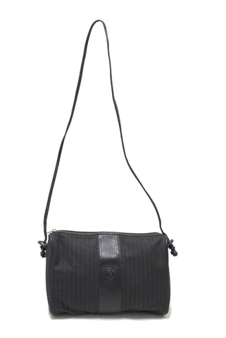 Authentic Fendi Vintage Black Canvas Striped Messenger Crossbody Bag