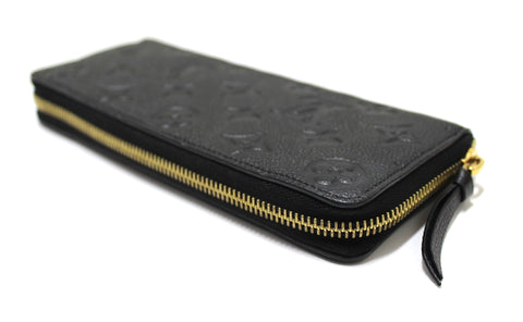 Authentic Louis Vuitton Black Empreinte Leather Clemence Zippy Wallet