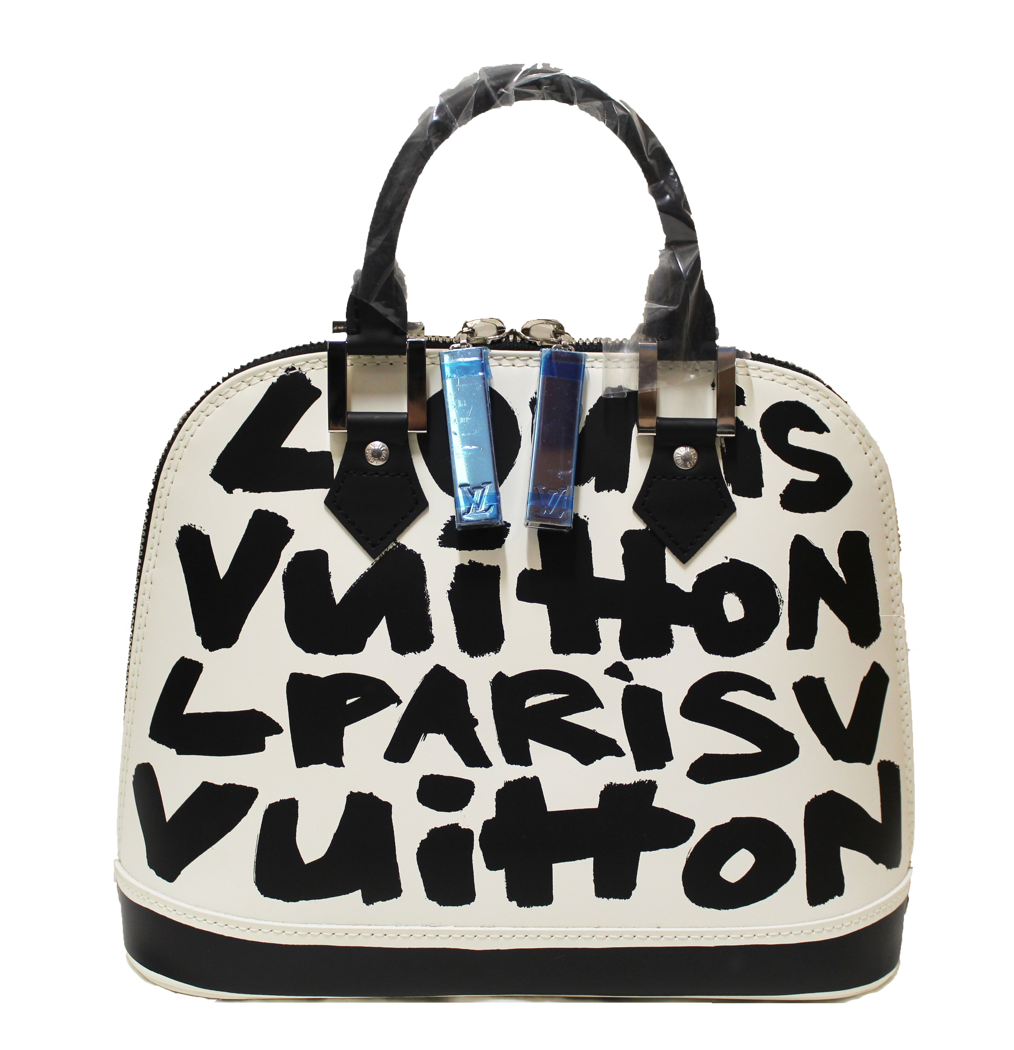 Authentic New Limited Edition Louis Vuitton White Alma MM Sprouse Black Graffiti Hand Bag