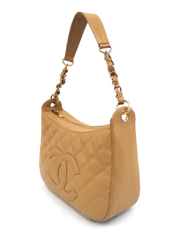 Authentic Chanel Beige Caviar Quilted Leather Hobo Shoulder Bag