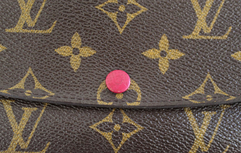 Authentic Louis Vuitton Classic Monogram Canvas Emilie Wallet Fuchsia