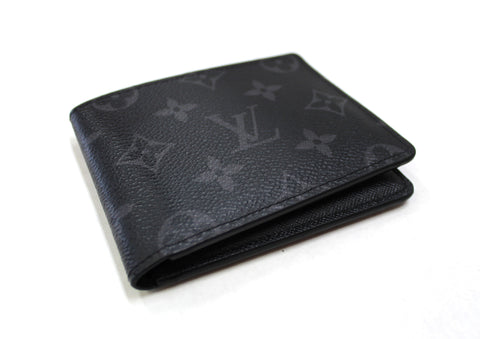 Authentic Louis Vuitton Grey Black Monogram Eclipse Canvas Men's Multiple Wallet