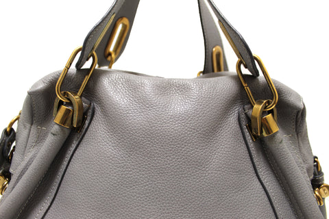 Authentic Chloe Paraty Grey Calfskin Leather Medium Shoulder Bag