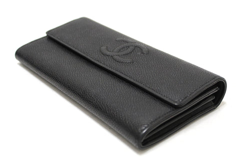 Authentic Chanel Black Caviar Leather CC Long Flap Wallet
