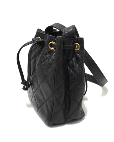 Authentic Chanel Black Caviar Leather Mini Drawstring Bucket Crossbody Bag