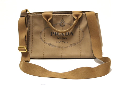Authentic Prada Brown Small Canapa Canvas Tote Bag with Long Strap