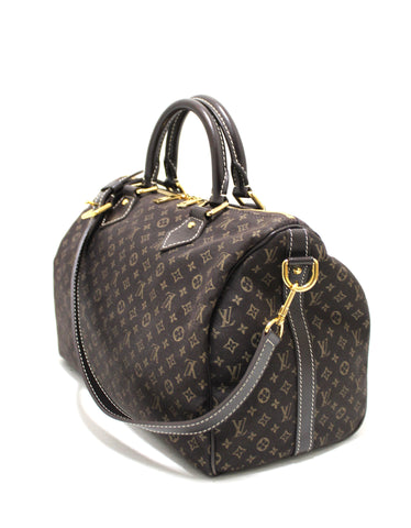 Authentic Louis Vuitton Brown Mini Lin Canvas Speedy 30 Bandouliere