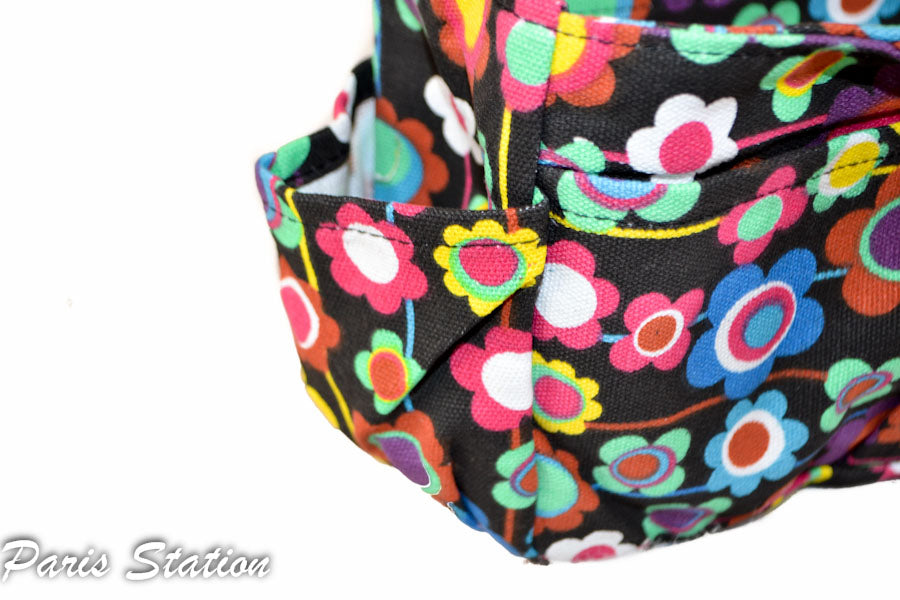 New Black Colorful Flower Design Small Purse Organizer