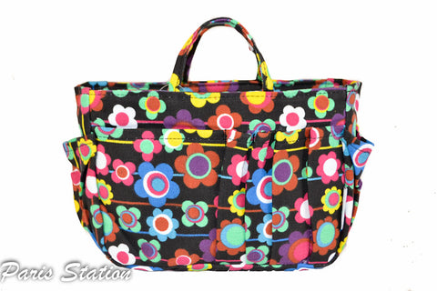 BRAND NEW Black Colorful Flower Design Small Purse Organizer