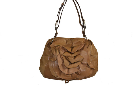 Authentic Yves Saint Laurent Brown Flower Tote Shoulder Bag