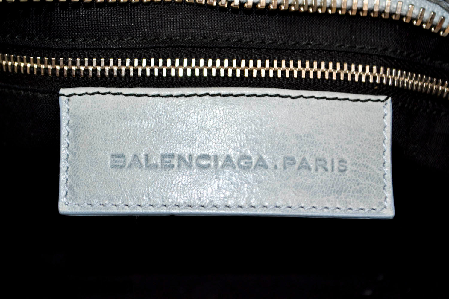 Authentic Balenciaga  Blue Lambskin Leather Giant City Hand/Shoulder Bag