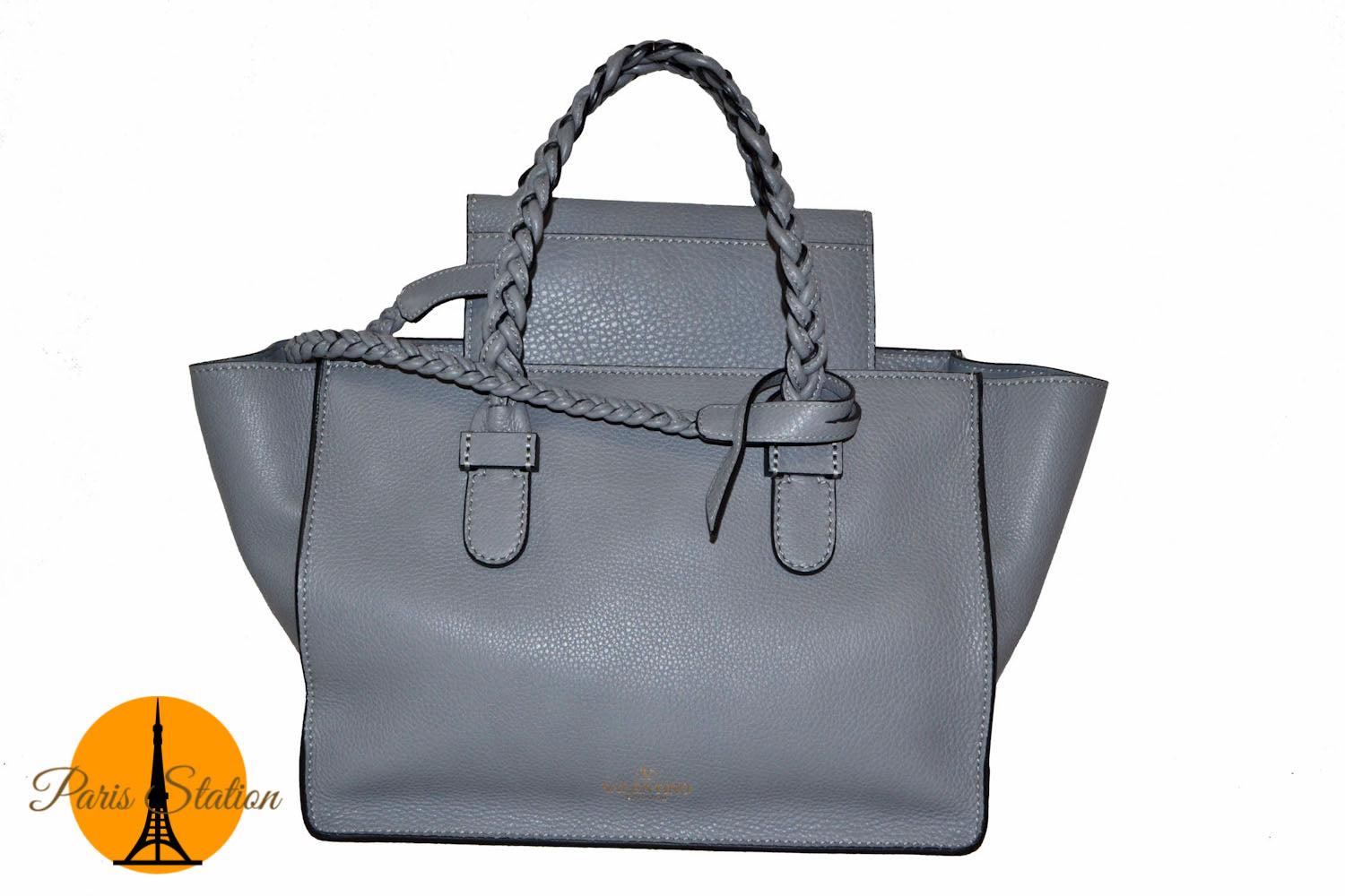 962d82c77df Authentic New Valentino Grey TBC Braided Tote Leather Shoulder Bag ...