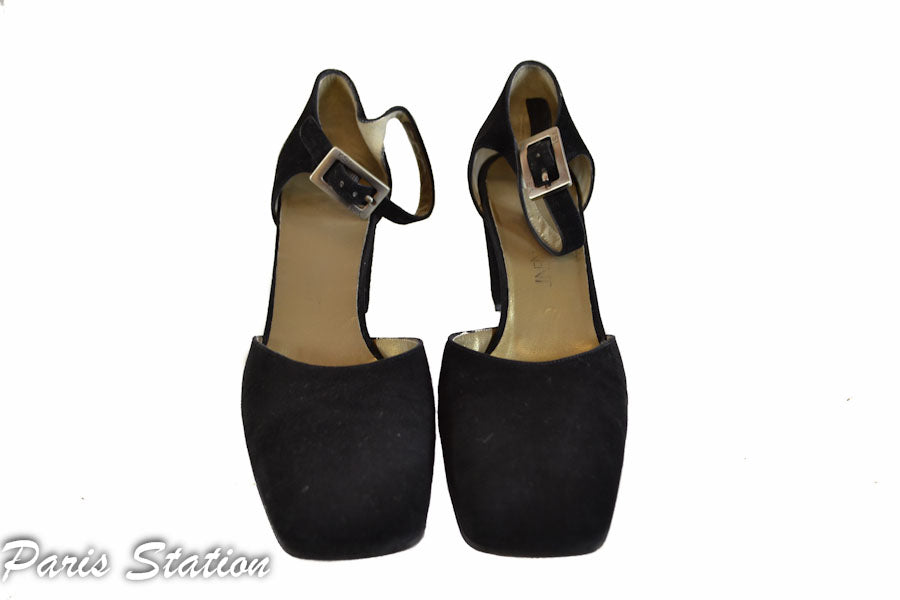 Authentic Yves Saint Laurent Black Suede Sandals Size 7
