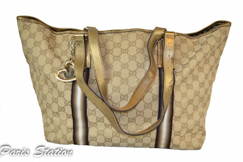 7a8bd7ccbb4e ... Authentic Gucci Gold GG Canvas Heart Charm Shoulder Bag